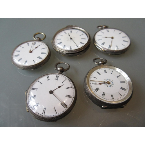 964 - Group of five silver cased open face fob watches...