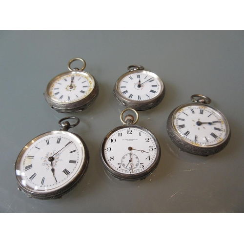 965 - Group of five various open face silver cased fob watches...