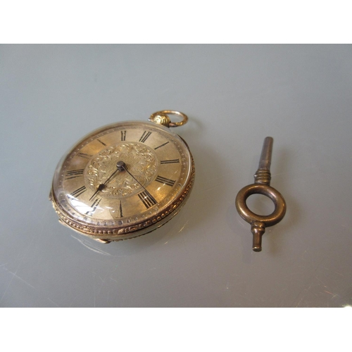 966 - Continental 18ct Gold cased open faced key-wind fob watch...