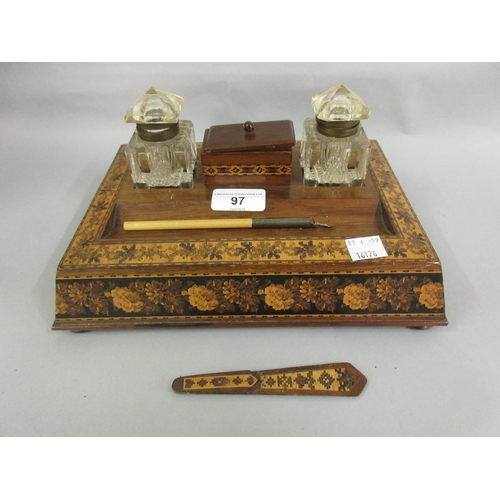 97 - 19th Century rosewood and Tunbridge inlaid two bottle inkstand together with a small 19th Century Tu...