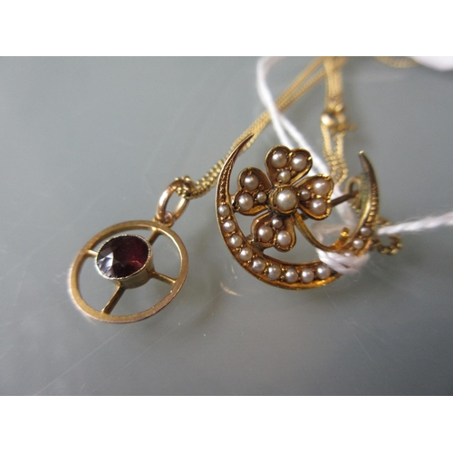 970 - 14ct Gold and split pearl shamrock brooch together with a yellow metal and garnet set pendant on an ...