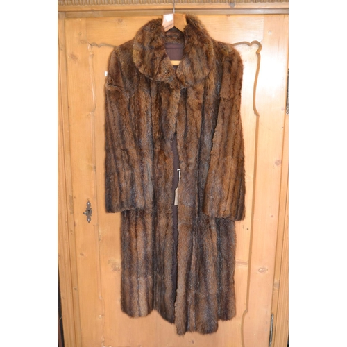 48A - Ladies dark brown three quarter length fur coat...