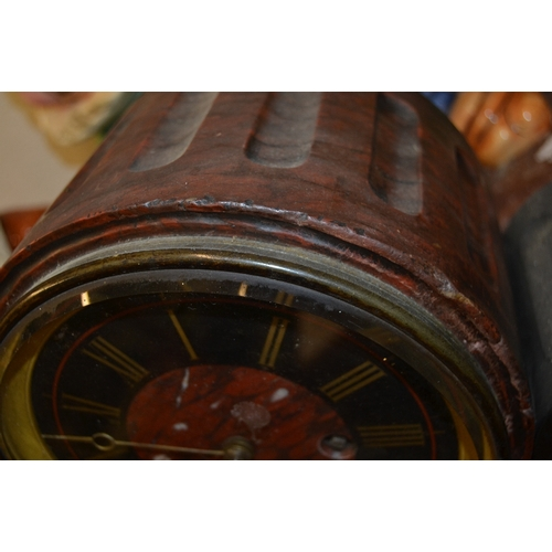 1434 - Large 19th Century black slate and rouge marble drum form mantel clock, the black slate and rouge ma...