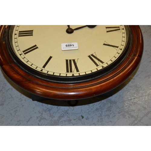 1489 - Circular mahogany wall clock, the 12in painted dial with Roman numerals with a single train fusee mo...