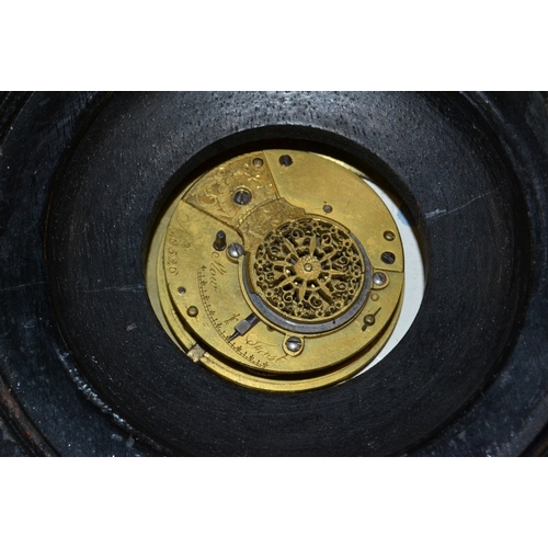 1491 - George III ebony cased Sedan clock with fusee movement, No. 526 (movement and dial loose), together ...