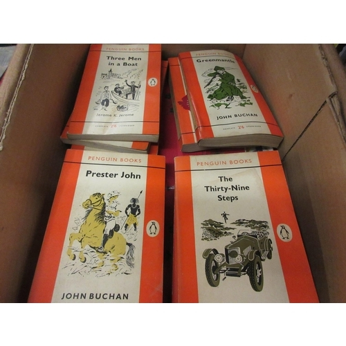 360 - Box containing a small collection of Penguin books including: John Buchan ' The Thirty Nine Steps ',...