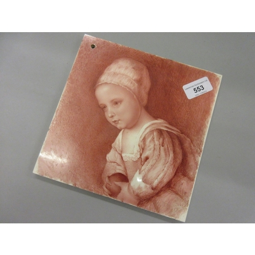 456 - 19th Century Mintons tile decorated with a portrait of a girl in pink...