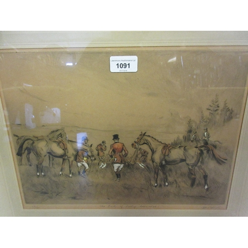 1091 - Tom Carr, pair of artist signed Limited Edition coloured engravings, hunting scenes, 10ins x 14ins, ...