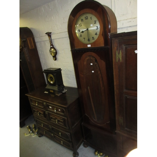 1468B - Early 20th Century mahogany longcase clock with an oval bevelled glass door, the circular silvered d...