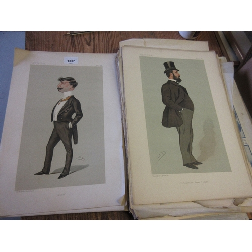 1337 - Large quantity of unframed Vanity Fair portrait prints together with a small quantity of other print...