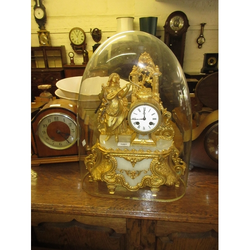 1497 - 19th Century gilded spelter and alabaster figural mantel clock with a two train movement housed unde...