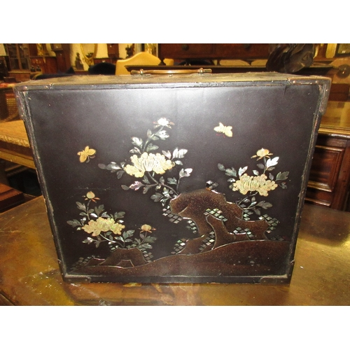 1701 - 19th Century Japanese black lacquer table cabinet with tambour doors enclosing drawers, 8.5ins high...