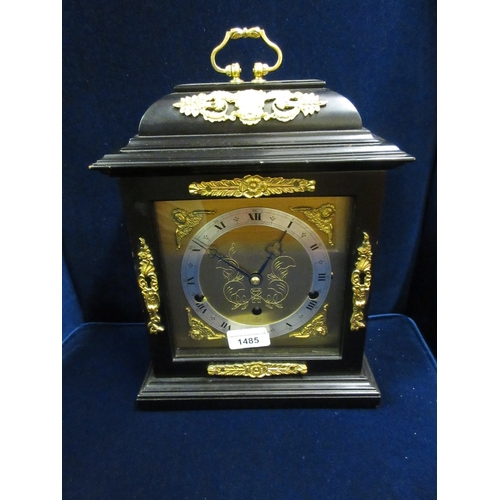 1485 - Good quality reproduction ebonised and gilt brass mounted bracket clock by Elliott of London for Map...