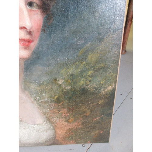1299 - Late 18th / 19th Century English School oil on canvas, head and shoulder portrait of a young lady, u...