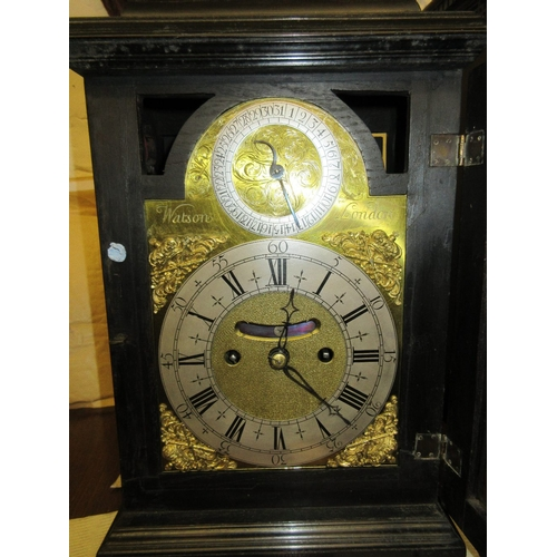 1483 - George III ebony and ebonised bracket or table clock, the dome case with brass carrying handle, the ...