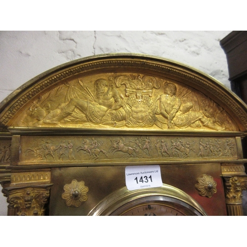 1431 - 19th Century French gilt brass mantel clock of architectural form, the broken arch top inset with a ...