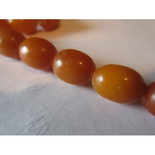 792 - Graduated amber bead necklace, overall length 52cms, largest bead approximately 25mm x 20mm, smalles...