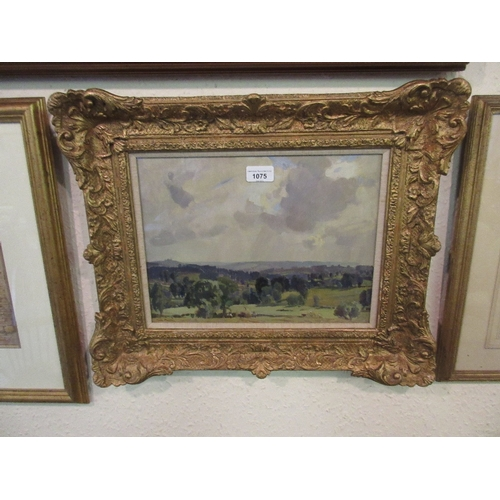 1075 - Freda Marston, oil on board, ' Spring in the Cotswolds ', signed and with original label verso, 10.5...