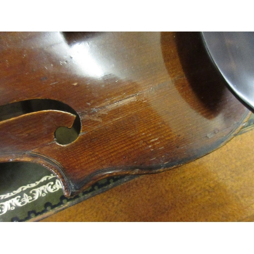 322 - Antique violin with 14.25in one piece back bearing various labels including Houvenel Paris and Alvir...