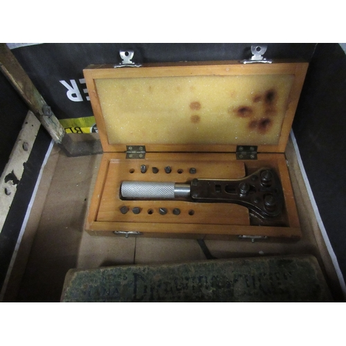 1458 - Box containing a quantity of engineering tools including an Imperial steel marking stamp set, togeth...