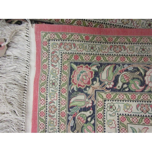 5 - Indo Persian silk rug having central medallion with all-over floral design on a beige ground having ...