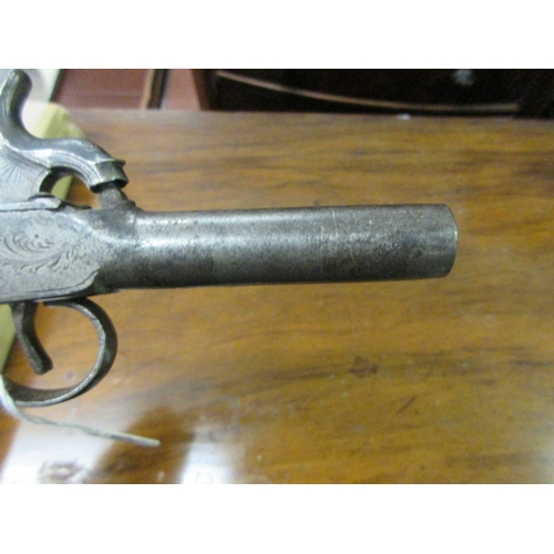 288 - Small 18th / 19th Century percussion pistol with engraved decoration and touch marks to the barrel w...