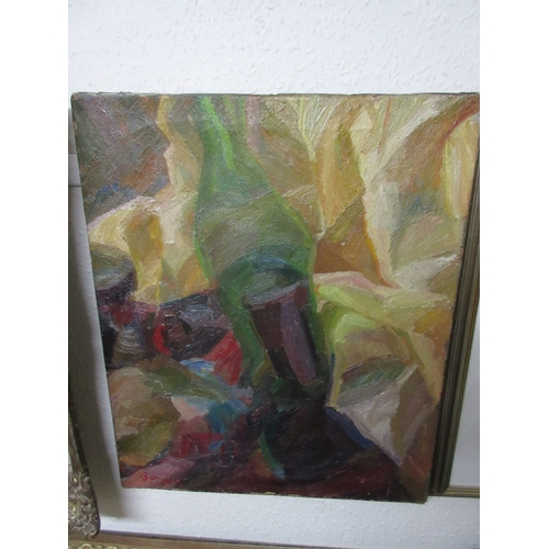 1301 - Unframed oil on canvas, abstract still life with green bottle, bearing signature, Bomberg, 24ins x 2...
