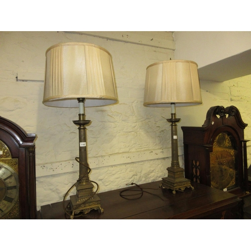 1760 - Pair of 20th Century French Empire style patinated metal table lamp bases with tapering columns and ...