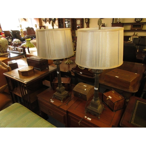 1761 - Pair of 20th Century French Empire style patinated metal table lamp bases with tapering columns and ...