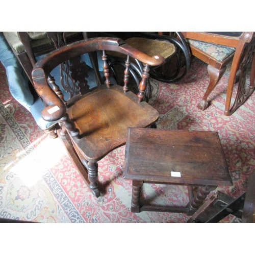 1765 - 19th Century yew wood rocking chair (cut down, with alterations) and a 20th Century oak joint stool...