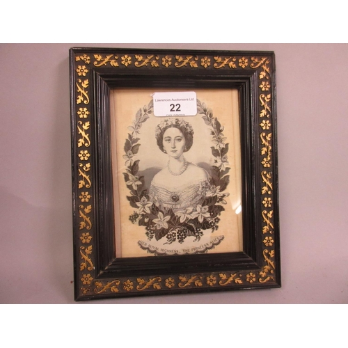 22 - Small machine woven Stevengraph type monochrome half length portrait of Princess Alice in an ebonise...