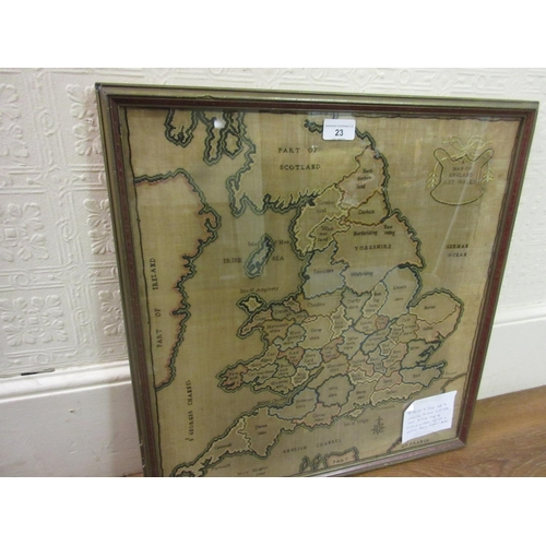 23 - Large good quality silk and chenille thread and silk cross stitch map of England and Wales, signed M...