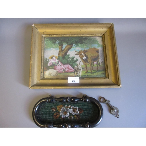 25 - Small 19th Century bead work picture of a shepherdess with animals in a landscape, 6.5ins x 8.5ins, ...