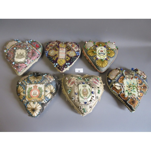 26 - Group of six World War I sweetheart pin cushions, bearing Regimental insignias...