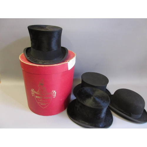 30 - Gentleman's top hat by Scott and Co., Piccadilly, another by N. Davies Ltd, London, a folding opera ...