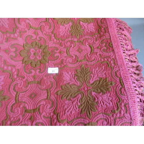 31 - Beige and burgundy floral pattern machine woven bedspread...