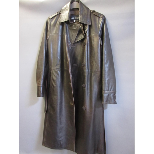 32 - Armani Jeans, ladies brown leather three quarter length trench coat...