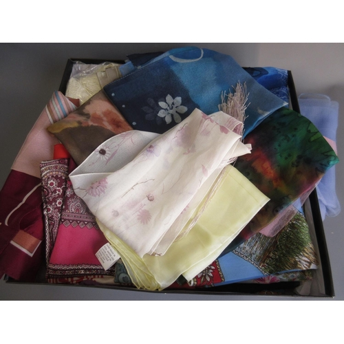 36 - Box of approximately fifty silk and other headscarves...