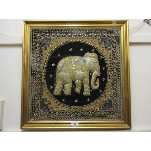 39 - Pair of Indian gold and silver coloured needlework pictures in high relief of an elephant and a peac...