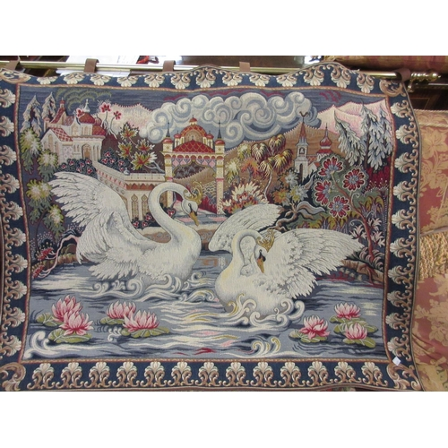 41 - Reproduction French machine tapestry depicting a lake scene with swans...