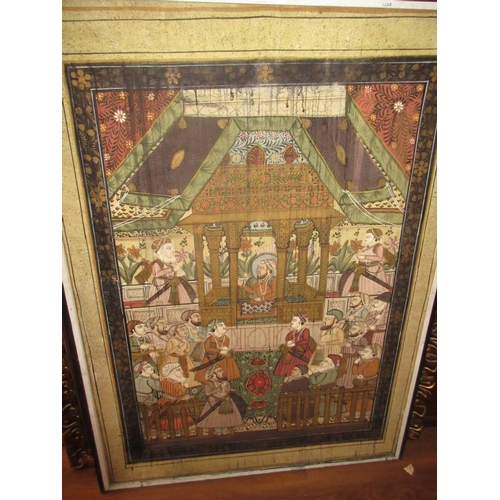 43 - Large Indian painting on linen, figures in an interior, 46ins x 33ins framed...