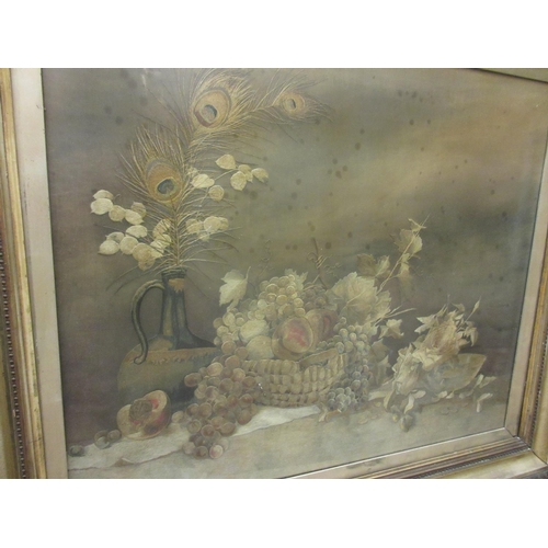 44 - Large silkwork picture, still life study of fruit and a bottle, 25.5ins x 31ins, gilt framed...