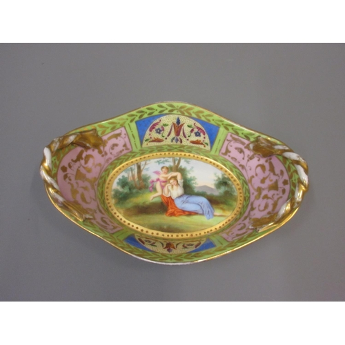 595 - 19th Century Vienna porcelain oval bowl painted with a lady and cherub, signed with beehive mark to ...
