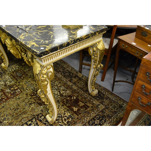 1763 - George II console table having antique slate top with painted faux marble finish and shell carved fr...