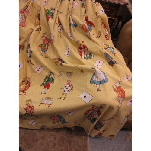 51 - Pair of ' Alice in Wonderland ' pattern curtains on yellow ground by Jane Churchill Fabrics...