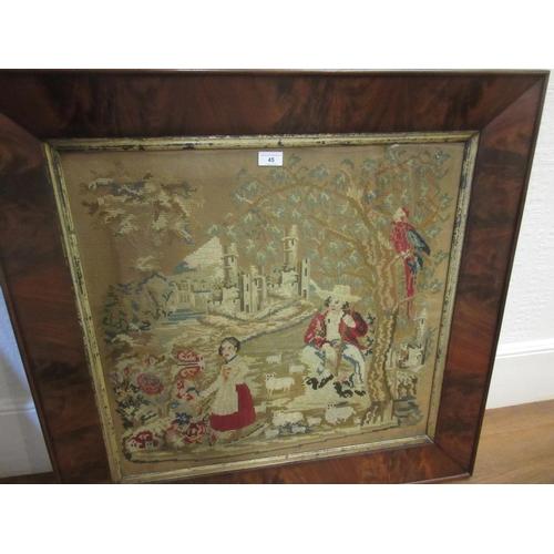45 - Three various machine woven tapestries together with two machine woven tapestry fragments...