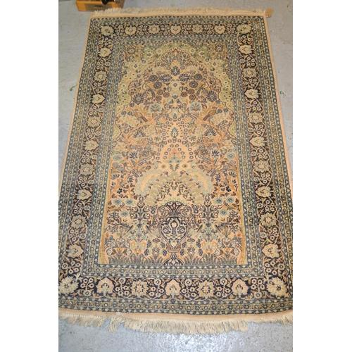 22 - Cotton silk style vase design rug, 60ins x 37ins...