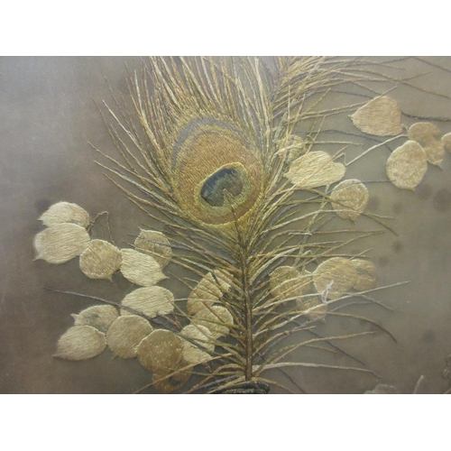 24 - Large silkwork picture, still life study of fruit and a bottle, 25.5ins x 31ins, gilt framed...