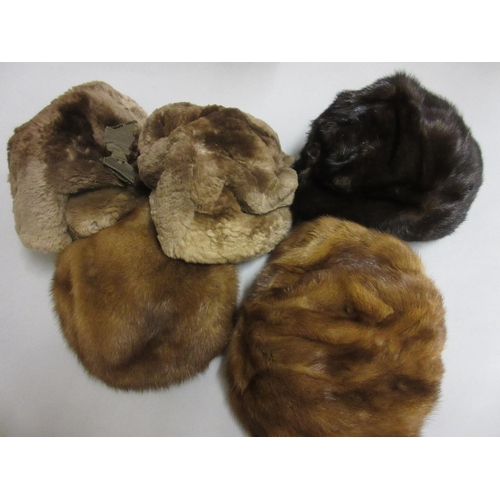 30 - Ladies medium brown fur jacket (at fault), a lambs wool shawl, a three quarter length dark brown fur...
