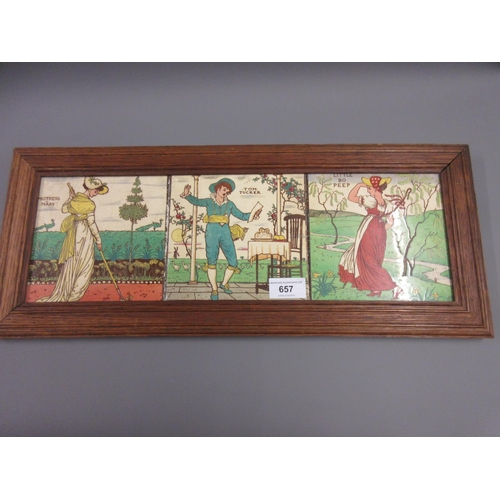 657 - Walter Crane for Maw and Co., group of three tiles, ' Mistress Mary ', ' Tom Tucker ' and ' Little B...